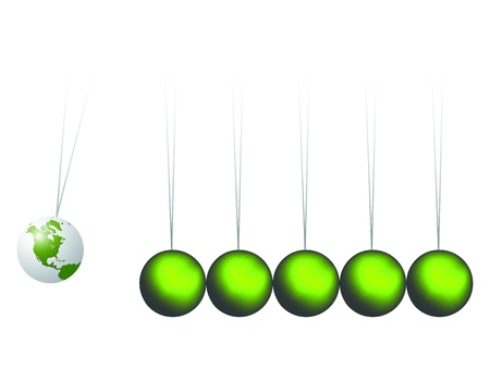 newtons cradle earth, abstract vector art illustration; image contains transparency and gradient meshes