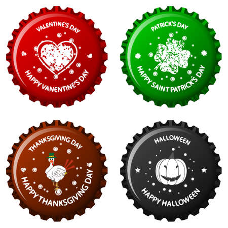 anniversary bottle caps against white background, abstract vector art illustration; image contains transparency Stock Illustration - 11957221