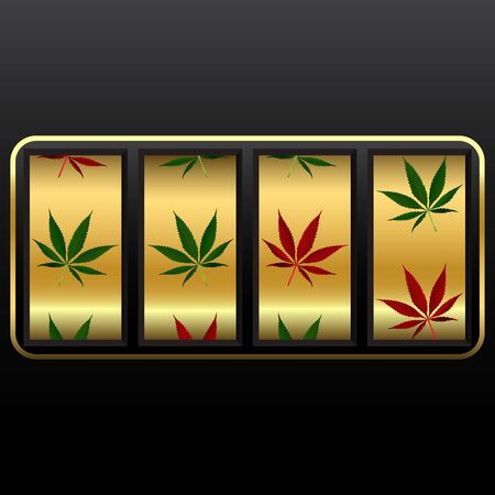 cannabis slot machine, abstract vector art illustration; image contains transparency illustration
