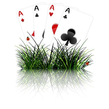 four aces behind grass reflected; abstract vector art illustration; image contains opacity mask and transparency illustration