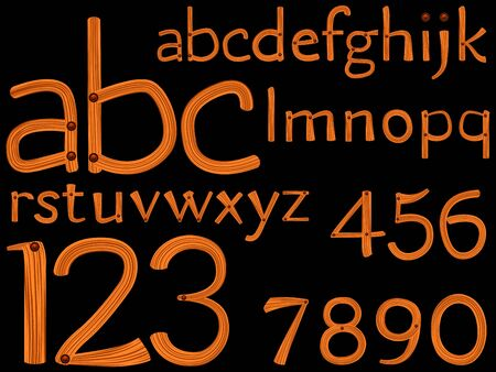 hand drawn alphabet and numbers over black background, abstract vector art illustration Stock Illustration - 11957254