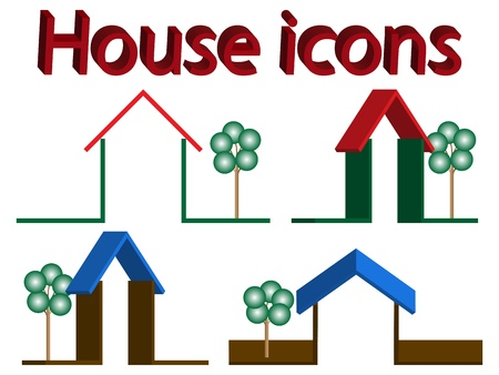rotated: 3d house icons with trees against white background, abstract vector art illustration Stock Photo