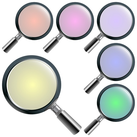 magnifying glasses against white background; abstract vector art illustration; image contains transparency Stock Illustration - 11957196