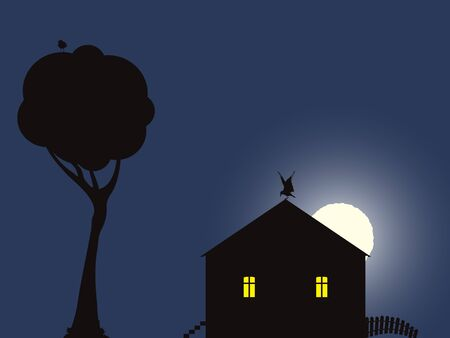night scene with house, birds and moon; abstract vector art illustration