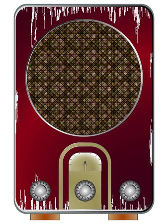 old radio against white background, abstract vector art illustration; image contains transparency