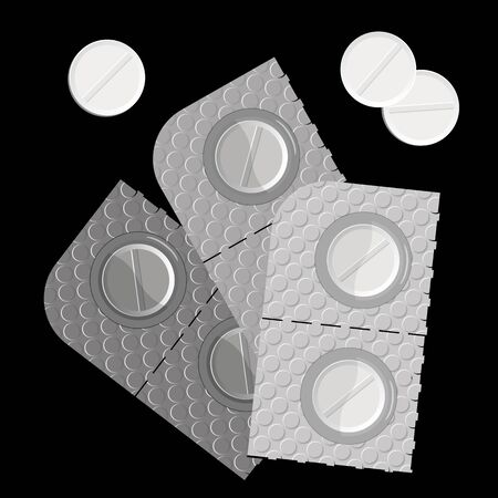 pills in a blister pack and isolated against black background, abstract vector art illustration; image contains transparency