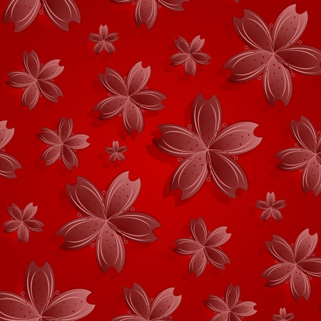 red flowers pattern, abstract seamless texture; vector art illustration illustration