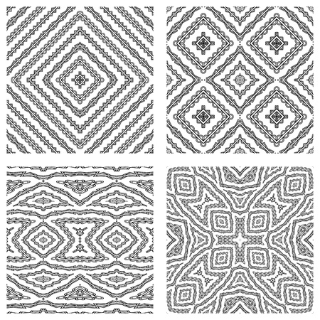 ornamentation: seamless textures against white background, abstract patterns; vector art illustration Stock Photo