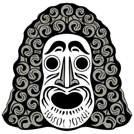 tribal head against white background; abstract vector art illustration illustration