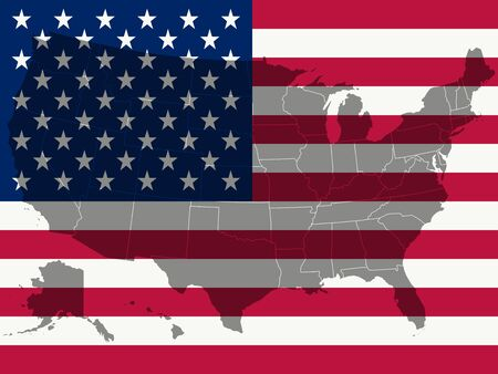 united states flag and map, abstract vector art illustration