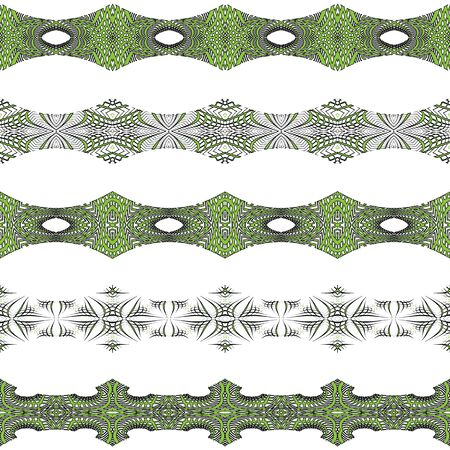 horizontal seamless borders against white background; abstract textures; vector art illustration 矢量图像