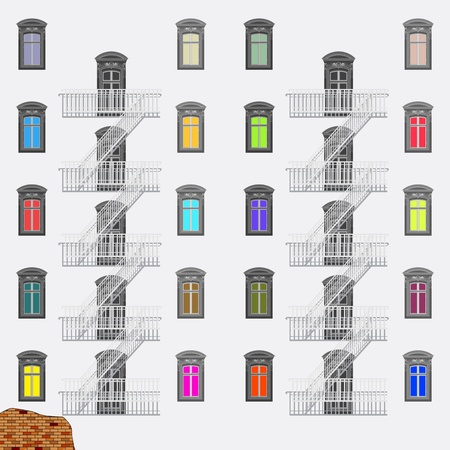 emergency exit ladder, abstract vector art illustration Illustration