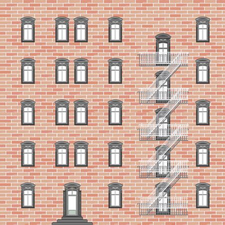 broken down: house with emergency ladder, abstract vector art illustration Illustration
