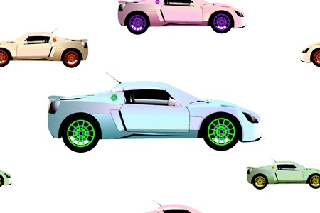 sport cars pattern, abstract seamless texture; vector art illustration; image contains transparency