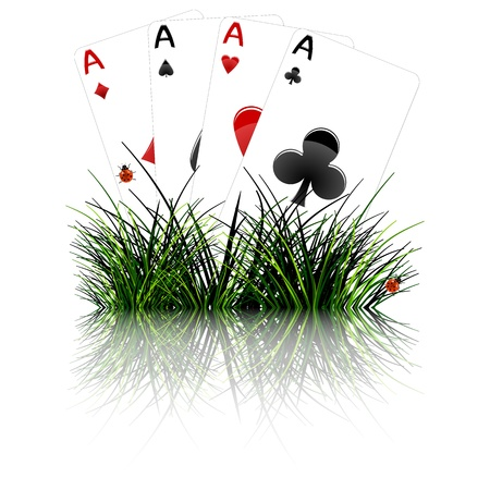 four aces behind grass reflected; abstract vector art illustration; image contains opacity mask and transparency Vector