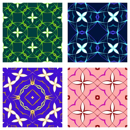 floral seamless textures, abstract patterns; vector art illustration