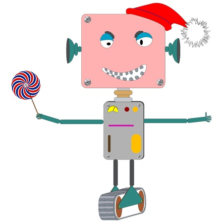 ugly robot laughing, with wind mill toy; abstract vector art illustration