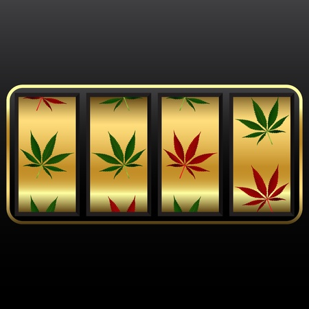 cannabis slot machine, abstract vector art illustration; image contains transparency