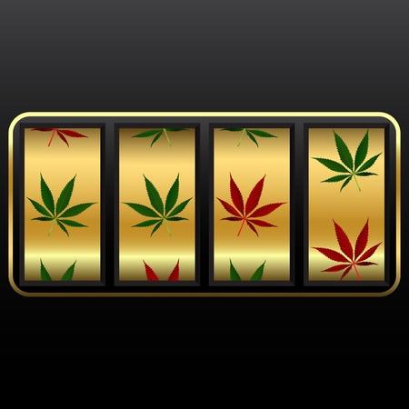 cannabis: Cannabis Spielautomat, abstrakten Vektor Kunst Illustration; Bild Transparenz enth�lt