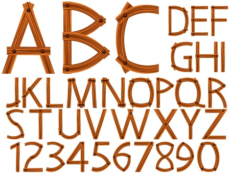 wooden alphabet and numbers over white background, abstract vector art illustration