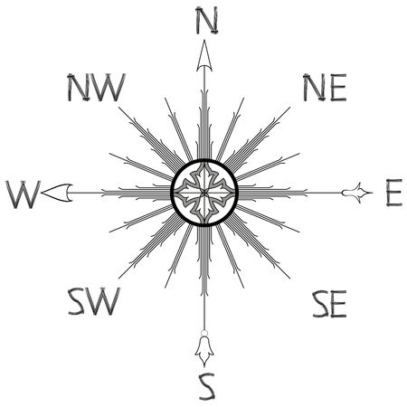 wind rose compass silhouette against white background, abstract vector art illustration Vector
