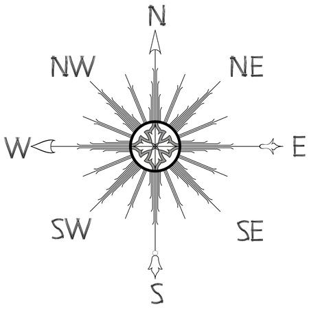 windroos kompas silhouet tegen een witte achtergrond, abstract vector kunst illustratie Stock Illustratie