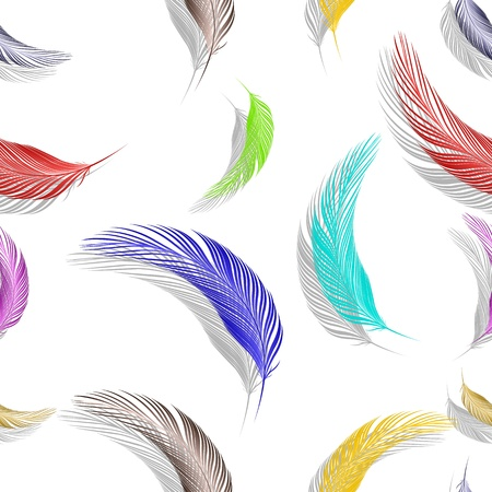 feathers seamless texture, abstract pattern; vector art illustration Ilustração
