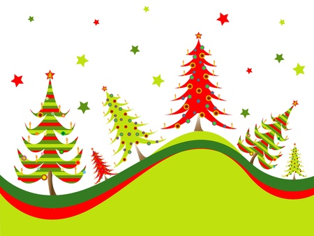 christmas trees background, abstract vector art illustration; image contains gradient mesh