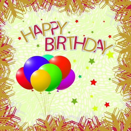Cumpleaños de la plantilla de tarjetas de felicitación, ilustración vectorial de arte abstracto, la imagen contiene transparencias Foto de archivo - 11968516