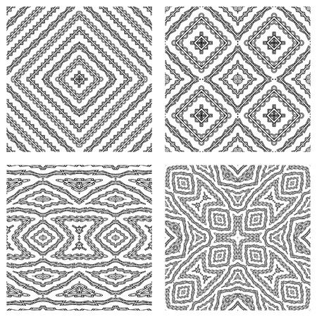 seamless textures against white background, abstract patterns; vector art illustration Ilustração
