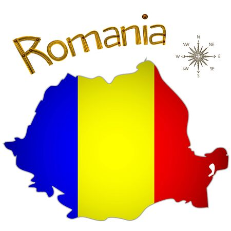 romanian map and wind rose over white background; abstract vector art illustration