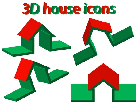 3d house icons against white background, abstract vector art illustration Vector