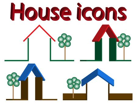 3d house icons with trees against white background, abstract vector art illustration Stock Vector - 11968350