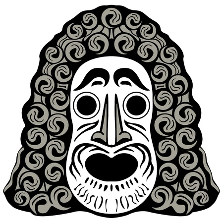 tribal head against white background; abstract vector art illustration Vector