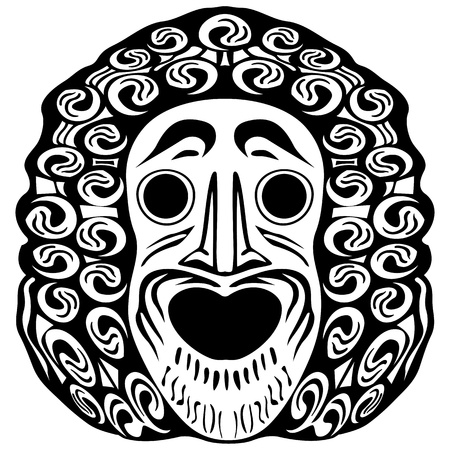 tribal face against white background; abstract vector art illustration Vector