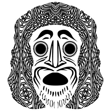 tribal mask against white background; abstract vector art illustration