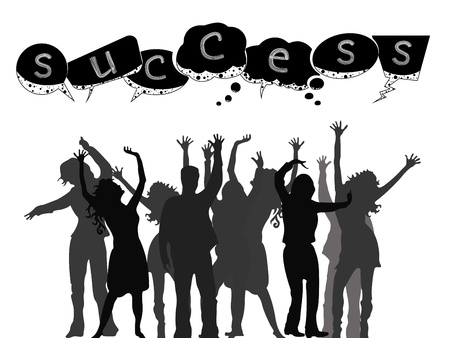 successful people silhouettes against white background, abstract vector art illustration Vector