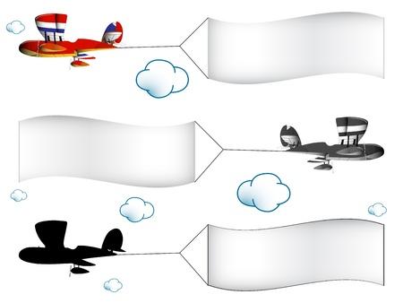 air traffic: aviones de dibujos animados con pancartas en el cielo nublado, ilustraci�n vectorial de arte abstracto, y la imagen contiene transparencias