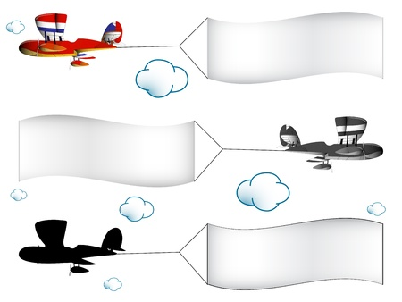 aeronautics: cartoon airplanes with banners in the cloudy sky, abstract vector art illustration; image contains transparency