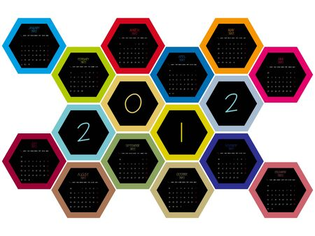 honey comb 2012 calendar, abstract vector art illustration Vector