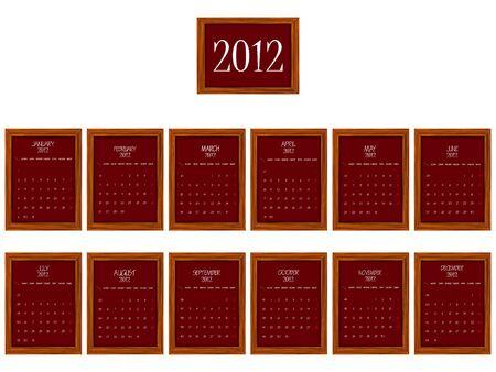 2012 frames calendar against white background, abstract vector art illustration Vector