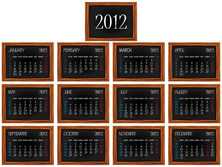 calendar 2012 on wooden frames over white background, abstract vector art illustration Stock Vector - 11999429