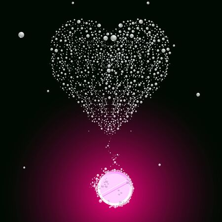 effervescent: bubbling valentine pill, abstract vector art illustration; image contains transparency Illustration