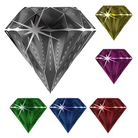 sapphire: diamonds against white background, abstract vector art illustration; image contains transparency Illustration