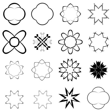 rosetta: black elements for design over white background, abstract vector art illustration