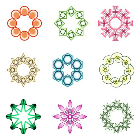rosetta: design elements over white background; abstract vector art illustration