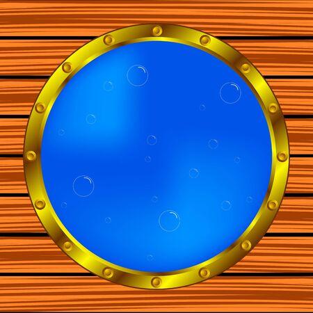 ventana ojo de buey: ojo de buey ventana sobre el cuerpo de barco con burbujas de aire;, ilustraci�n abstracta del arte del vector, imagen contiene malla de degradado