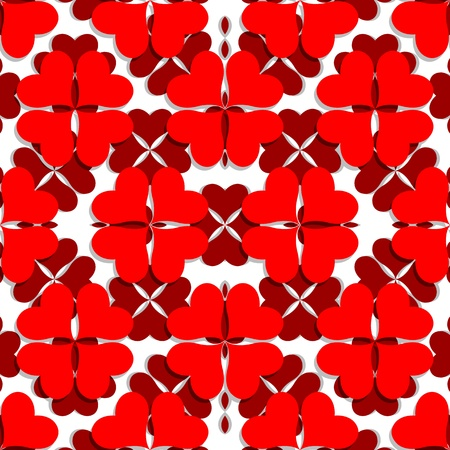 shamrock seamless: valentine pattern with shamrock shaped hearts, abstract seamless texture; vector art illustration