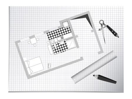 vertical divider: architectural sketch with blue print, pencils and divider Illustration