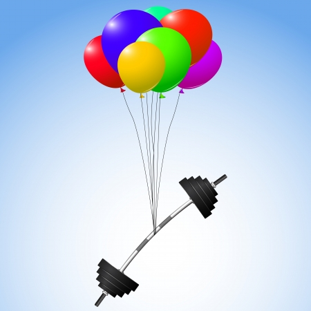 benchpress: balloons and weights over sky background Illustration